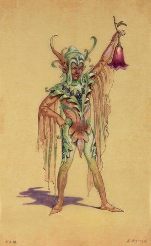 "Reproduction oil paintings - C. Wilhelm - Robin Goodfellow, the Puck, costume design for ""A Midsummer Night's Dream"", produced by R Courtneidge at the Princes Theatre, Manchester"