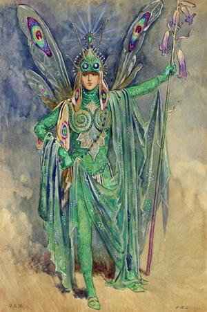 "Reproduction oil paintings - C. Wilhelm - Oberon, costume design for ""A Midsummer Night's Dream"", produced by R Courtneidge at the Princes Theatre, Manchester"