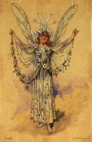 "Reproduction oil paintings - C. Wilhelm - The Bindweed Fairy, costume for ""A Midsummer Night's Dream"", produced by R. Courtneidge for the Princes Theatre, Manchester"
