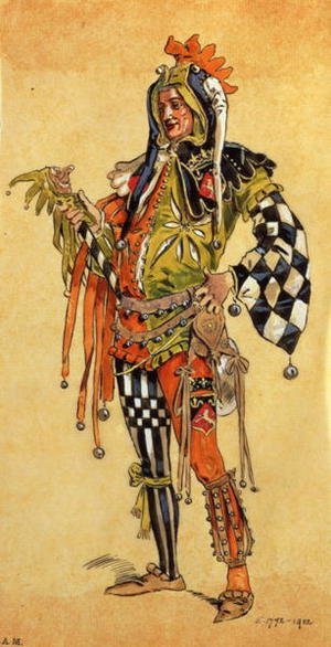 "Reproduction oil paintings - C. Wilhelm - Touchstone the Clown, costume design for ""As You Like It"", produced by R. Courtneidge at the Princes Theatre, Manchester"