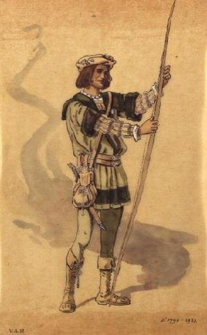 "Orlando, costume design for Shakespeare's ""As You Like It"", produced by R. Courtneidge at the Princes Theatre, Manchester"