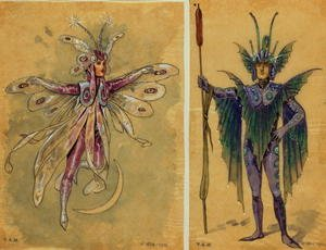 Reproduction oil paintings - C. Wilhelm - Two costume designs for fairies from 'A Midsummer Night's Dream', produced by R. Courtneidge at the Princes Theatre, Manchester