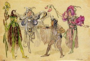 Reproduction oil paintings - C. Wilhelm - Four Fairy Costumes for A Midsummer Nights Dream produced by Robert Courtneidge at the Princes Theatre, Manchester, 1896-1903