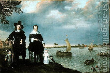 A Shipowner and his Family, 1650 by Abraham Willaerts - Reproduction Oil Painting