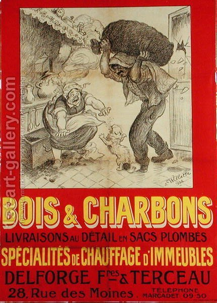 Poster advertising Delforge, Freres & Terceau, wood and coal suppliers, 1922 by Adolphe Willette - Reproduction Oil Painting