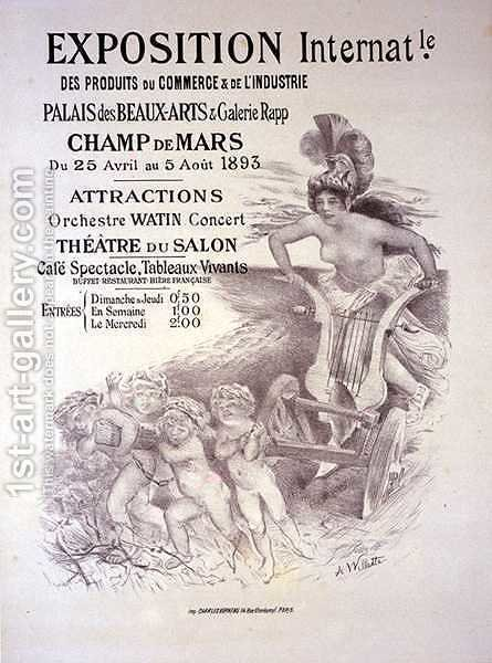 Reproduction of a poster advertising an 'International Exhibition of Commercial and Industrial Products', Palais des Beaux-Arts and Galerie Rapp, Champ de Mars, Paris, 1893 by Adolphe Willette - Reproduction Oil Painting