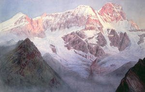 Famous Paintings in Victoria and Albert Museum, London, England: Monte Rosa at Sunrise from above Alagna