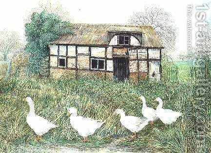 Geese Before a Timbered Cottage by Alexander Williams - Reproduction Oil Painting