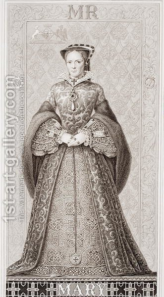 Queen Mary (1516-58) from Illustrations of English and Scottish History Volume I by (after) Williams, J.L. - Reproduction Oil Painting
