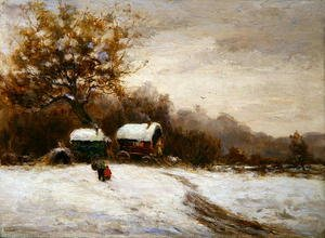 Reproduction oil paintings - Leila K. Williamson - Gypsy Caravans in the Snow