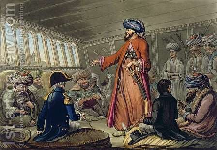 A Mameluke Delivering a Message from Mourad Bey, engraved by Joseph Constantine Stadler (fl.1780-1812) published by I. White, London, 1801 by (after) Willyams, Cooper - Reproduction Oil Painting