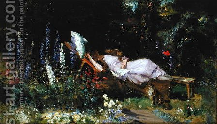 Harry Mitten Wilson: An Afternoon Nap - reproduction oil painting