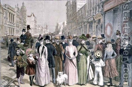 The Block in Collins Street, Melbourne, from a sketch by Melton Prior (1845-1910), engraved by P. Naumann for the Illustrated London News, 4th January 1890 by (after) Wilson, Thomas Walter - Reproduction Oil Painting