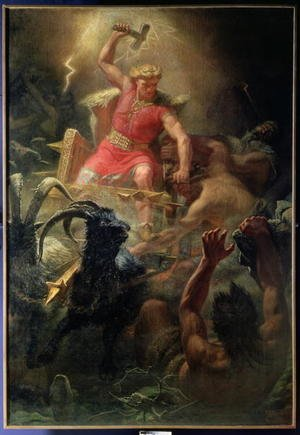 Famous paintings of Goats: Thors Fight with the Giants, 1872