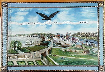 View of New Orleans from the Plantation of Marigny, 1803 by J. L. Bouquet de Woiseri - Reproduction Oil Painting