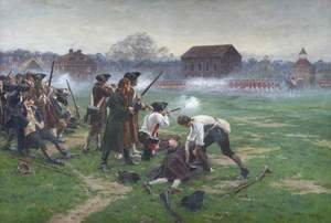 Famous paintings of Military: The Battle of Lexington, 19th April 1775, 1910