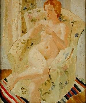 Constructivism painting reproductions: Seated Nude Girl in an Interior, 1928