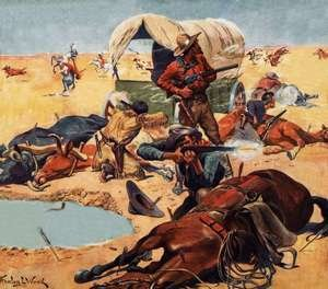 Futurism painting reproductions: Cowboys and indians