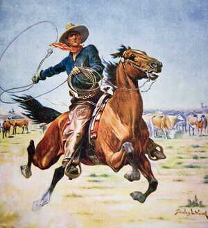 Famous paintings of Domestic Animals: Texas Cowboy