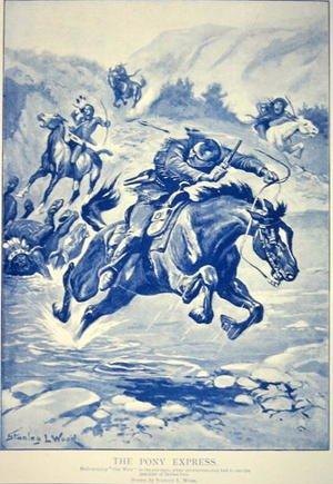Futurism painting reproductions: Pony Express pursued by Indians