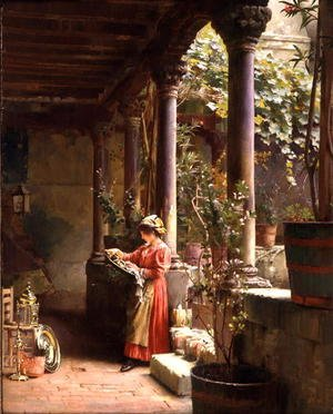Reproduction oil paintings - Henry Woods - A Courtyard in Venice, 1896