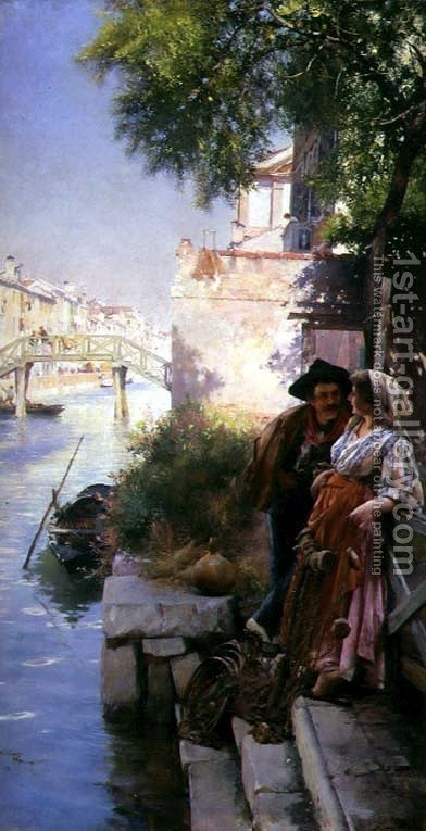 The Fishermans Courting by Henry Woods - Reproduction Oil Painting