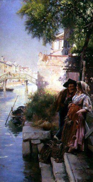 Reproduction oil paintings - Henry Woods - The Fishermans Courting