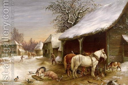 Farmyard in Winter by Henry Woollett - Reproduction Oil Painting