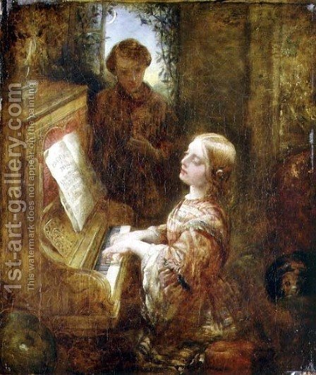 The Evening Hymn, c.1850s by Alfred Woolmer - Reproduction Oil Painting