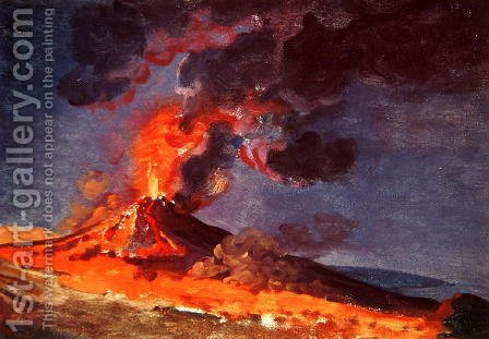 The Eruption of Vesuvius by Josepf Wright Of Derby - Reproduction Oil Painting