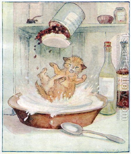 Wee Kitty fell into the cream..., illustration from Cuddly Kitty and Busy Bunny, by Clara G. Dennis, published by Thomas Nelson and Sons, Ltd., 1926 by Alan Wright - Reproduction Oil Painting