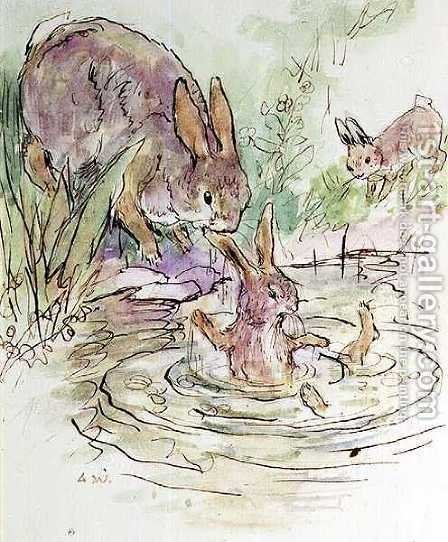 llustration for the Busy Bunny Book by Alan Wright - Reproduction Oil Painting