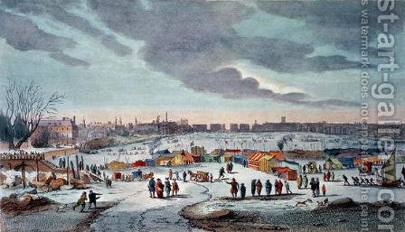 Frost Fair on the River Thames near the Temple Stairs in 1683-84, engraved by James Stow (1770-c.1820), pub. 1825 by Robert Wilkinson by (after) Wyke, Thomas - Reproduction Oil Painting