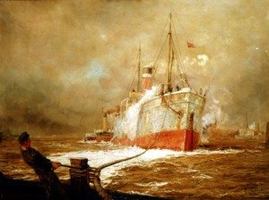Famous paintings of Ships & Boats: Docking a Cargo Ship