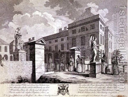 S. Vale: A Perspective view of the Foundling Hospital with Emblematic Figures, 1749 - reproduction oil painting