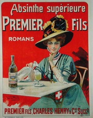 den Thurm Van reproductions - Poster depicting Premier Fils Absinthe, c.1895-1900