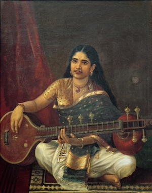 Reproduction oil paintings - Raja Ravi Varma - Young Woman with a Veena