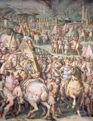 Reproduction oil paintings - Giorgio Vasari - The Siege of Livorno by Maximilian I (1459-1519) from the Salone dei Cinquecento, 1555-72