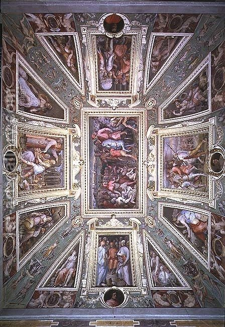 Huge version of The ceiling of the Sala di Cosimo Il Vecchio showing Cosimo de' Medici (1389-1464) returning from exile in 1434, c.1560