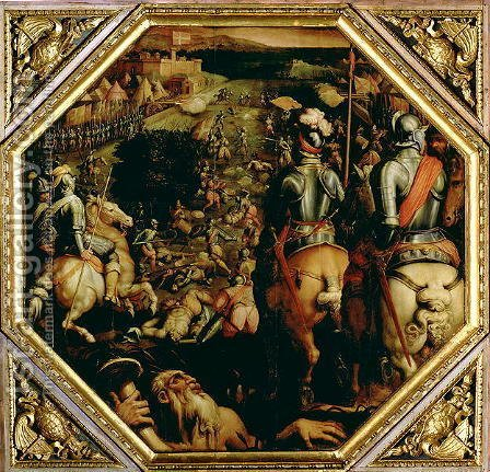Giorgio Vasari: The Battle of Marciano in 1553, from the ceiling of the Salone dei Cinquecento, 1565 - reproduction oil painting