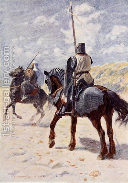 Vedder Simon Harmon: A Saracen approaches a Crusader Knight illustration for The Talisman A Tale of the Crusaders by Sir Walter Scott - reproduction oil painting