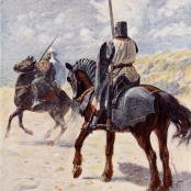 Oil painting reproductions - Modernism - Vedder Simon Harmon: A Saracen approaches a Crusader Knight illustration for The Talisman A Tale of the Crusaders by Sir Walter Scott
