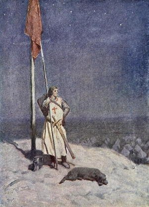 Modernism painting reproductions: The Knight stands watch on St. Georges Mount with the banner of England, illustration from The Talisman A Tale of the Crusaders by Sir Walter Scott