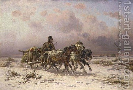 A peasant in a sledge driving three horses by Adolf van der Venne - Reproduction Oil Painting