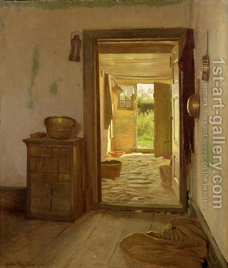 Farmhouse Interior with an Open Door by Gustav Vermehren - Reproduction Oil Painting