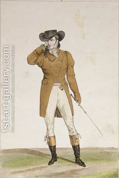 Carle Vernet: A Dandy dressed in a boat-shaped hat, a dun-coloured jacket and buckskin breeches, plate 1 from the Incroyable et merveilleuses series of fashion plates, engraved by Georges Jacques Gatine 1773-1831 published 1797 in Paris - reproduction oil painting