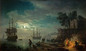 Famous paintings of Clouds & Skyscapes: Night A Port in the Moonlight, 1748