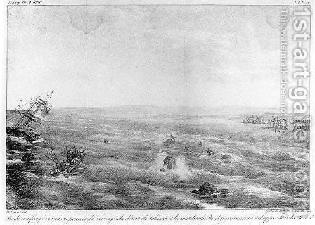 The Sinking of Sophie on the Saharan Coast, frontispiece to 'Naufrage du brick francais La Sophie perdu le 30 mai 1819 sur la cote occidentale dAfrique by Charles Cochelet, engraved by Motte, published 1821 by Horace Vernet - Reproduction Oil Painting