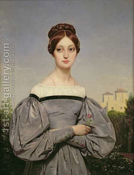 Portrait of Louise Vernet 1814-45 Daughter of the Artist by Horace Vernet - Reproduction Oil Painting