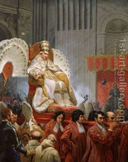 Pope Pius VIII 1761-1830 in St. Peters on the Sedia Gestatoria by Horace Vernet - Reproduction Oil Painting